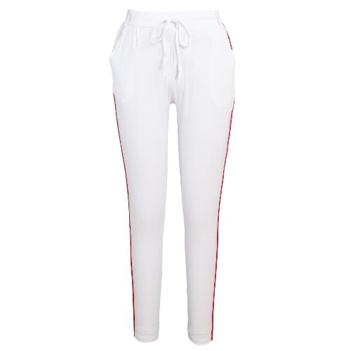 Pantalones de rayas laterales de mujer de moda pantalones Casual alta cintura elástica cordón delgado pantalones de lápiz