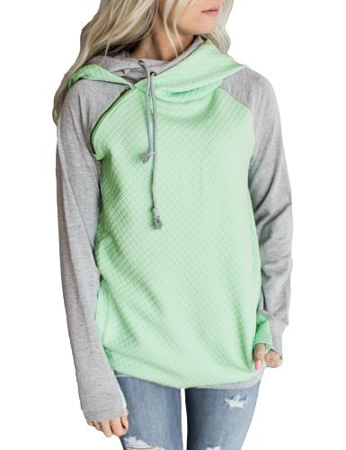 Sudaderas con capucha de las mujeres de la manera Color del contraste Manga larga Cordón Casual Pullover caliente Sudaderas con capucha Borgoña / Verde / Rosa