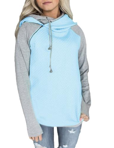Sudaderas con capucha de las mujeres de la moda Sudadera con capucha del contraste del color de la manga larga ocasional con capucha caliente