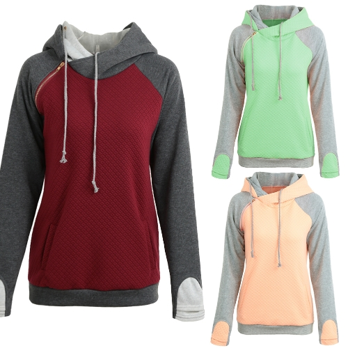 Fashion Women Hoodie Sweatshirts Contrast Color Long Sleeve Drawstring Casual Warm Pullover Hooded Tops Burgundy/Green/Pink