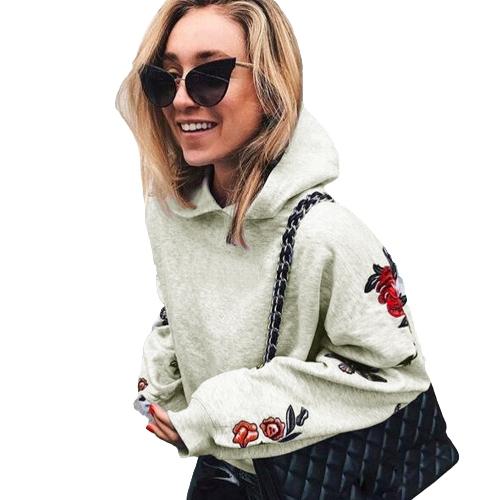 Nuevas mujeres de la manera con capucha Sudaderas Mariposa estampado floral de manga larga Pullover con capucha Tops sueltos