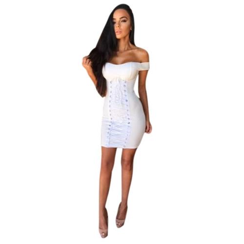 Vestido Sexy Mujer Sólido Novio De Hombro Encaje Hasta Ojales Agujeros Vendaje Bodycon Mini Clubwear