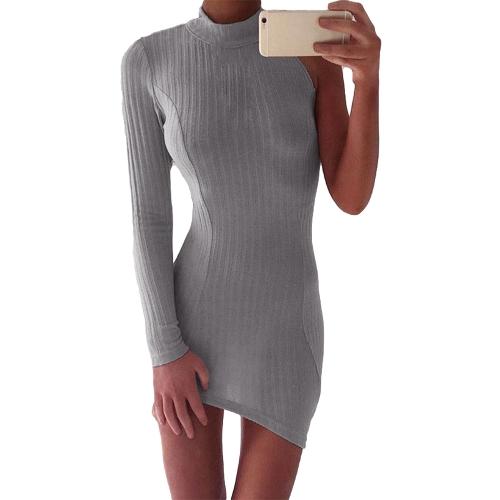 Vestido de mujer sexy a lápiz Sólido acanalado con una manga Asimétrica de cuello en forma de tortuga Bodycon Mini Clubwear