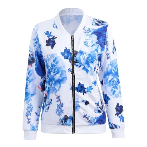 Autumn Winter Women Floral Print Basic Coats Long Sleeve Zipper Bomber Jacket Casual Top Streetwear