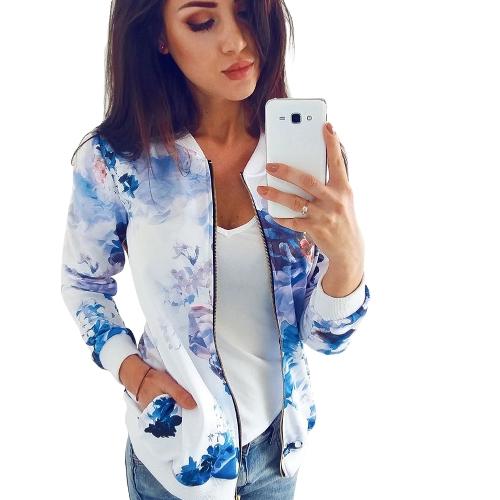 Outono Inverno Mulheres Floral Impressão Casacos Básicos Luva Longa Zipper Bomber Jacket Casual Top Streetwear