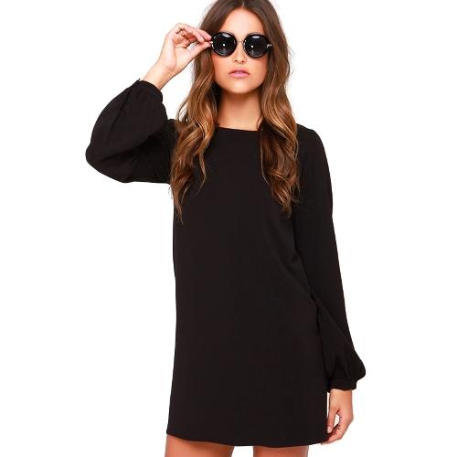 Sukienka damska szyfonowa z długim rękawem Sukienka na sukience z krótkimi rękawami Czarna / burgundowa / zielona