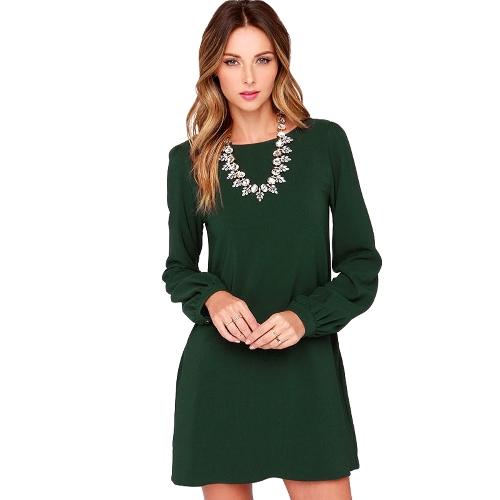 Vestido de gasa de mujer de manga larga Vestido de cambiador de sol O-Cuello Mini vestido Negro / Borgoña / Verde