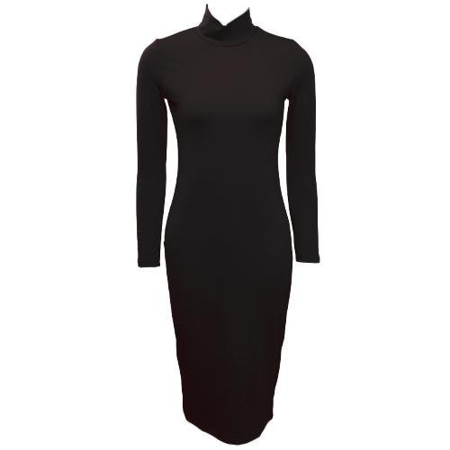 Vestido de cuello alto de mujer con cuello en V manga larga vestido de bandolera vestido de fiesta de cóctel