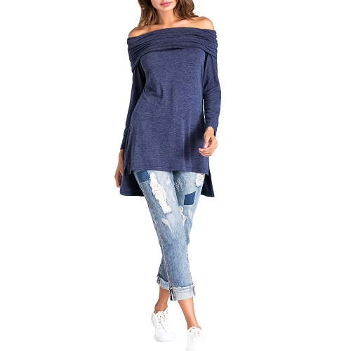Camiseta de manga larga de mujer con cuello en V manga corta asimétrica Camiseta de manga larga con rematar de color azul oscuro