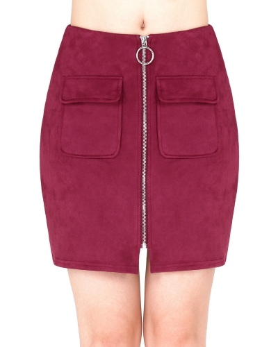 Fashion Women Mini Suede Skirts Pocketed Zippered Front Party Short Sheath Suedtte Skirt