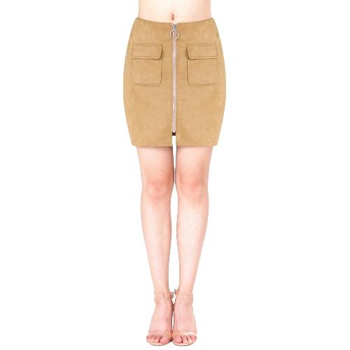 Las faldas de gamuza de las mujeres de moda bolsillo con cremallera Parte delantera falda corta vaina Suedtte
