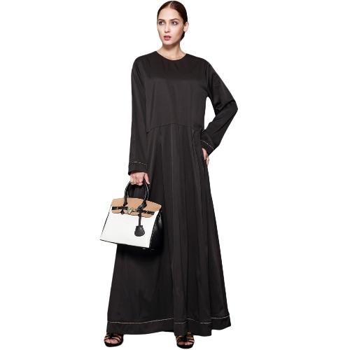 Frauen Muslim Maxi Kleid Lace Up Langarm Abaya Kaftan Islamic Arab Robe Langes Kleid Schwarz