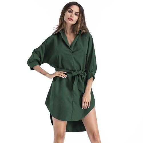 Las mujeres atractivas visten las mangas sólidas del palo con el dobladillo irregular de la correa Partido elegante Mini vestidos de OL