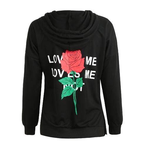 Sudaderas con capucha de mujer Sudadera estampada floral Chándal casual Sudadera con capucha con capucha negra
