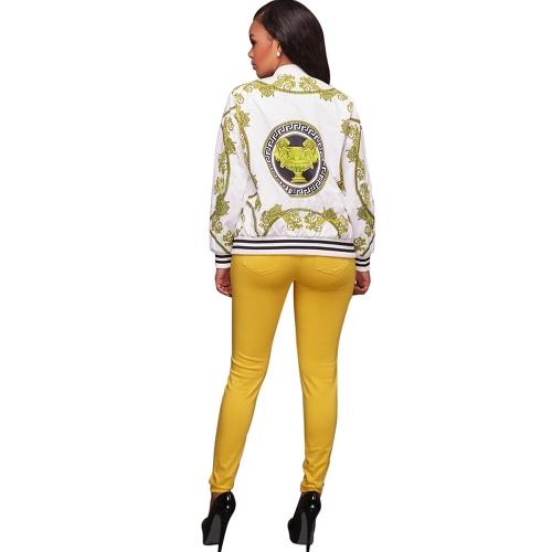 Nueva moda mujeres abajo chaqueta estampada O-cuello con cremallera de manga larga abrigo negro / amarillo
