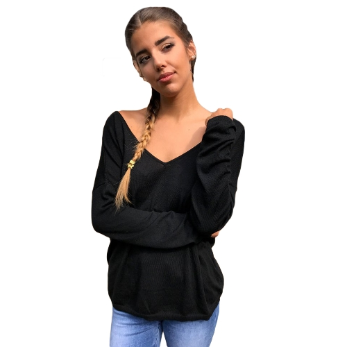 Women Sexy Backless T-Shirt V Neck Long Sleeve Eyelash Lace Splice Casual Top Tee White/Black