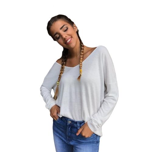 Camiseta sin espalda atractiva de mujer con cuello en V Camiseta de manga larga con lazo de empalme con tapa blanca / negra