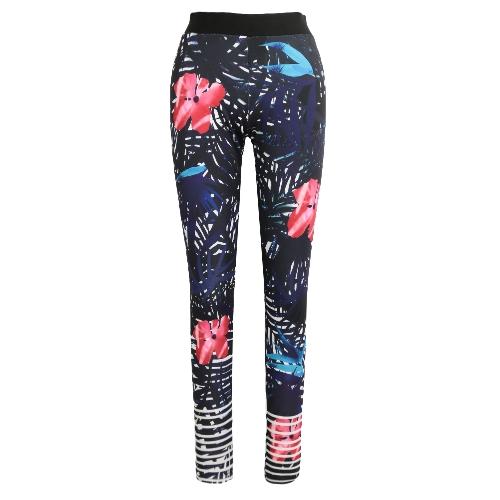 New Women Sport Yoga Leggings Estampado Floral Estiramiento Rayado Gimnasio Gimnasio Running Bodycon Pantalones Negro