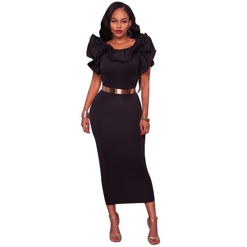 Moda Mulheres Ruffle Neck Slit Hem Midi Vestido Cor sólida sem mangas Party Cocktail Slim Bodycon Dress Black / Rose
