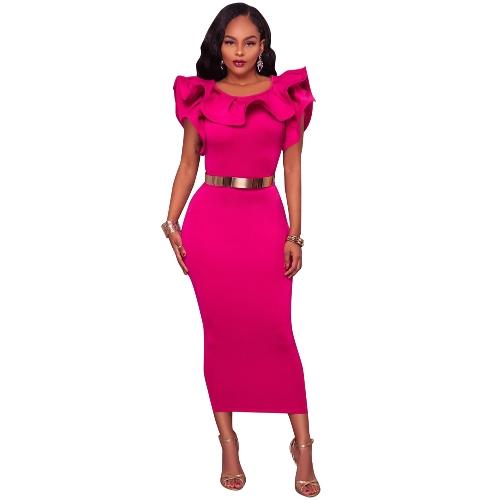 Moda mujer volante cuello hendidura dobladillo vestido Midi color sólido sin mangas partido cóctel delgado vestido ajustado negro / rosa