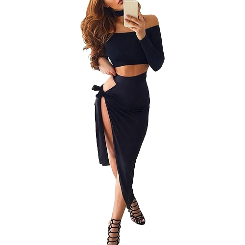 Sexy Women Off Shoulder Conjunto de dois pedaços Long Sleeve Tie Side Slit Asymmetric Party Club Dress Crop Top + Skirt with Choker