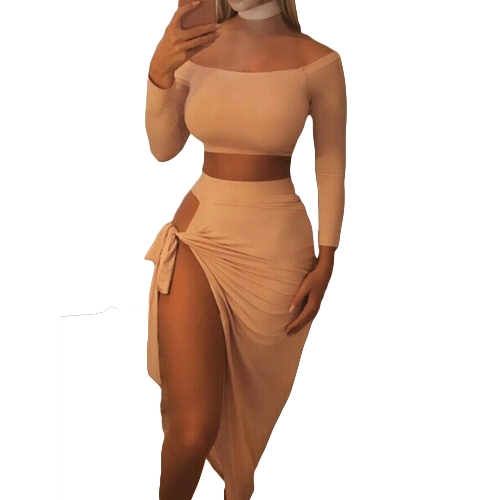 Mujeres atractivas del hombro del juego de dos piezas de manga larga del lazo del lado del vestido asimétrico del club de la fiesta de la fiesta Top corto + falda con gargantilla