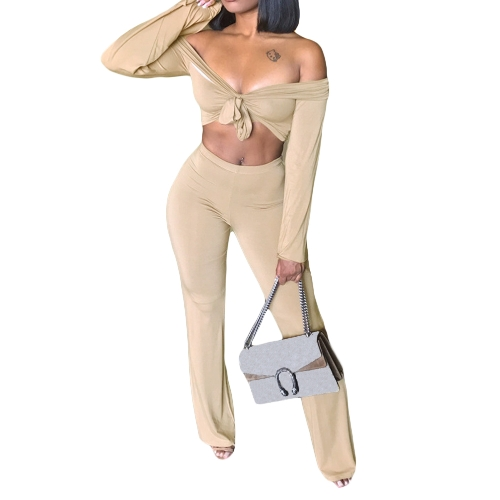 Sexy Women Two Pieces Off Shoulder Crop Top Bandage Bodycon Long Pants Sólidos Slim Club Suits