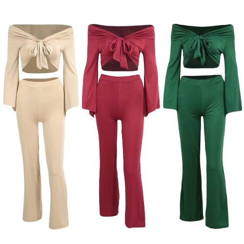 Sexy Women Two Pieces Off Shoulder Crop Top Bandage Bodycon Long Pants Solid Slim Club Suits