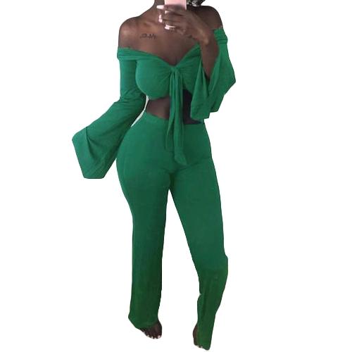 Mujeres atractivas dos piezas del hombro Crop Top vendaje Bodycon pantalones largos trajes sólidos del club delgado