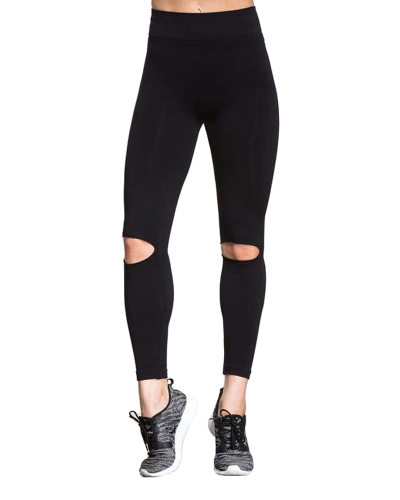 Sexy Women Yoga Pants Leggings esportivos Cutout Design Workout Running Skinny Slim Fitness Tights Black