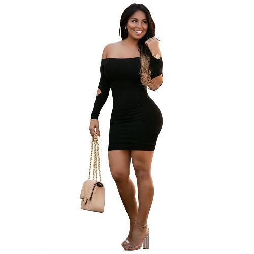 Mujeres sexy vestido de color sólido de hombros sin espalda recortar manga larga vendaje Mini Bodycon clubwear de noche