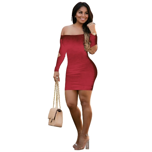 Sexy Frauen Kleid Einfarbig Schulterfrei Backless Cut Out Langarm Bandage Mini Bodycon Nacht Clubwear