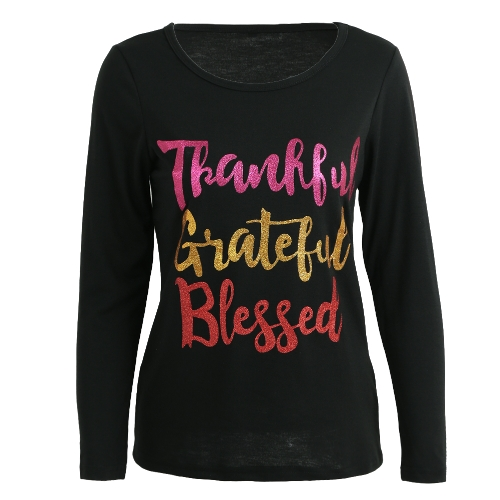 Camiseta de mujer Thankful Grateful Blessed Contrast Glitter letras cuello redondo manga larga Casual Tops negro