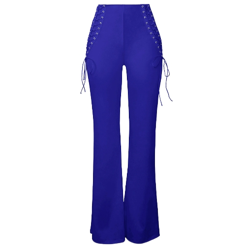 Mulheres Lace Up Wide Leg Pants Alta cintura Bell Bottom Flare Straight Evening Party Casual Calças compridas