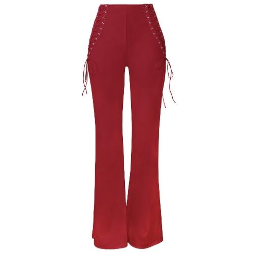 Las mujeres atan para arriba los pantalones anchos de la pierna La cintura alta acampanan hacia abajo la fiesta recta de la tarde Los pantalones largos ocasionales
