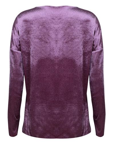 Neue Mode Frauen Samt Strass Langarm T-Shirt Bling Diamant O Hals Lose T-Shirt T Top