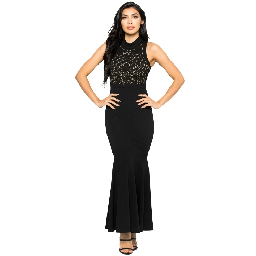 Vestido de sirena de las mujeres Rhinestones Bodycon Cuello alto sin mangas Cóctel Evening Party Ball Long Dress