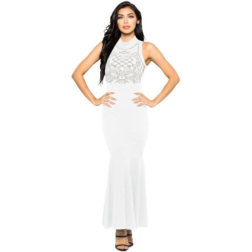 Vestido de sirena de las mujeres Rhinestones Bodycon Cuello alto sin mangas Cóctel Evening Party Ball Long Dress