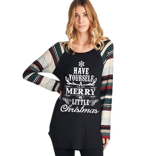 Otoño Invierno Mujeres Navidad Nieve Letra Imprimir Camiseta Color Bloque O Cuello a Rayas Manga Larga Pullover Tees Tops