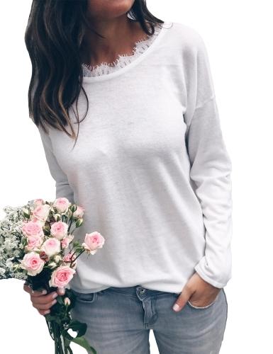Blusa de encaje sexy mujer sin respaldo de manga larga vendaje abierto espalda ocasional suelta sólida camiseta Tops negro / blanco