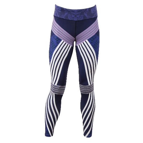 Sexy mujeres raya impresión deportes polainas Yoga pantalones entrenamiento Running flaco Slim Fitness medias púrpura