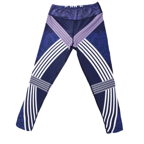 Sexy Women Stripe Print Sports Leggings Yoga Pants Workout Running Skinny Slim Fitness Tights Purple