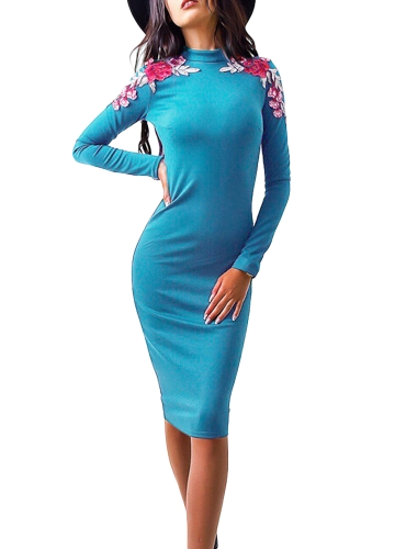 Mujeres de moda bordado floral Floral Midi vestido de manga larga Solid Party Club Bodycon vestido