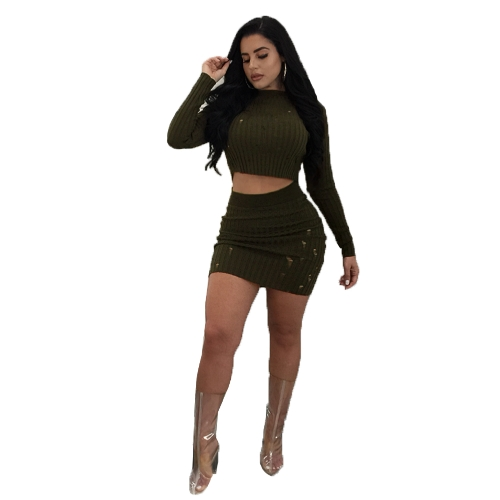 Seksowne kobiety Dwuczęściowy strój wysoki dekolt Crop Top z długim rękawem Distressed Detail Bodycon Spódnica Set Party Clubwear Army Green