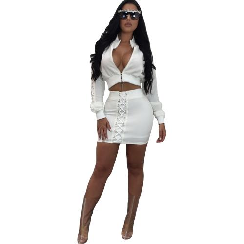 Conjunto de dos piezas Sexy Lace Up Stand Collar manga larga Crop Top Mini falda lápiz conjunto negro / blanco