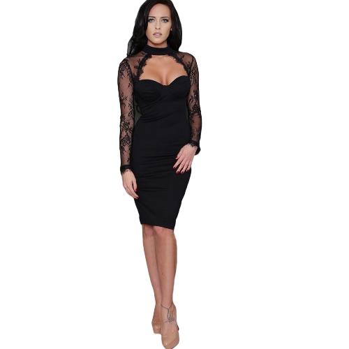 Mulheres Vestido de festa de encapuzado floral Vestido de colarinho alto Vestido casual Vestido Bodycon preto / vermelho