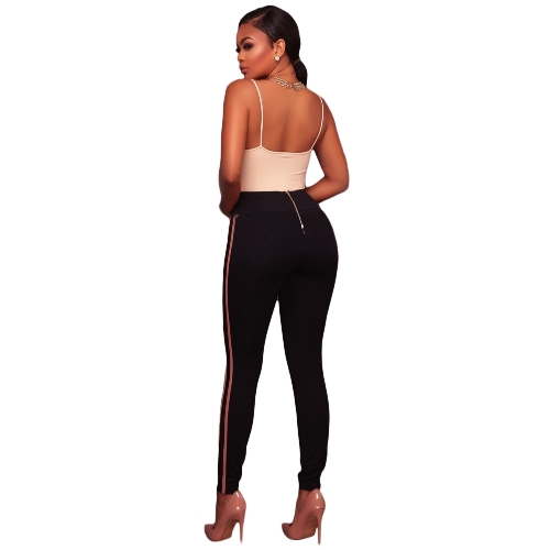 Sexy Women High Waist Trousers Slim Leggings Side Striped Back Zipper Elegant Fitness Skinny Pencil Pants Red/Pink