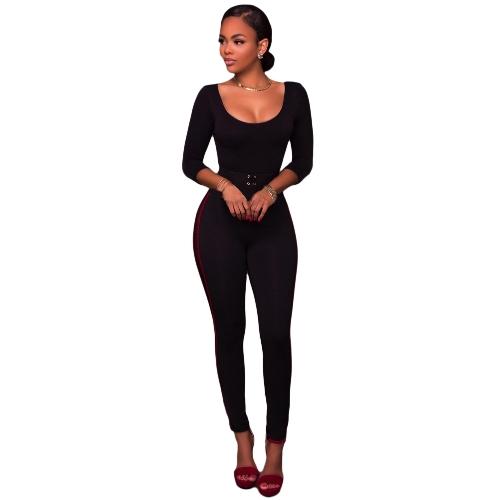 Pantalones de cintura alta de mujeres atractivas Leggings finos Cremallera de espalda lateral con cremallera Pantalones de lápiz flaco de fitness elegante rojo / rosa