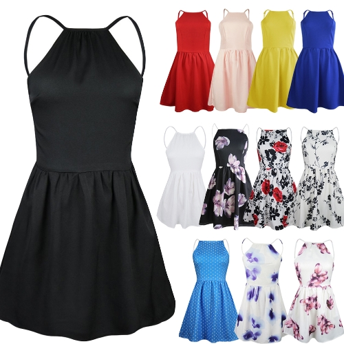 New Sexy Women Mini Slip Dress Backless Spaghetti Strap Solid Floral Slim Ruffed Party Skater Dress