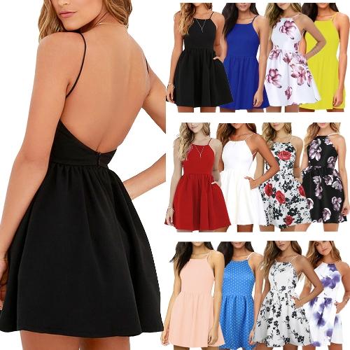 Новое сексуальное женское платье мини-Slip без спинки спагетти ремень сплошное цветочное платье Sluc Ruched Party Skater